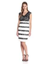 Jax Women's V-Neck Stretch Latin and Lace Stripe Sheath Ivory/Black Dres... - $46.72