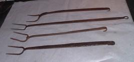 4 Antique farm large Flesh Forks Rod Iron hand Forged Blacksmith made aafa - $75.00