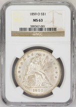 1859-O $1 Seated Liberty Dollar - NGC MS63 Super Luster! - US Rare Coin - $3,995.00