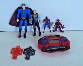 Spiderman, Superman, and Thor Figures w/ Spiderman 3 Handheld Game - $12.64