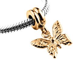 9ct Yellow GOLD Handmade Butterfly Dangle Charm Fits EUROPEAN BRACELETS - $111.38