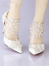 Girls Ivory White Lace Ankle Strappy Wedding Heels Shoes US Size 6,7,8,9,10,11 - $99.99