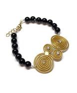 Golden Grass, Spiral Bracelet, Black Onyx Bracelet, Handmade, Eternity S... - $25.60