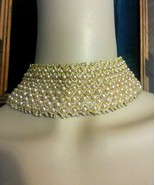 Vintage 15.2ms Perla Sintética Oro Gargantilla Boda Tendencia Collar par... - $189.46