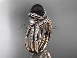 Black cultured pearl engagement ring 14kt rose gold wedding ring set ABP146S - $2,545.00