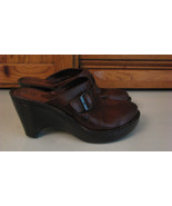 BORN Brown Leather MULES Woman's SHOES 7 / 38 Buckle Accent FANCY - $14.84