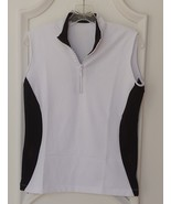 Stylish Women's Golf & Casual Sleeveless White Mock Polo, Rhinestone Zipper - $29.95