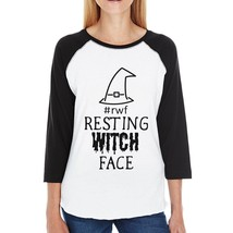 Rwf Resting Witch Face Womens Black And White BaseBall Shirt - $19.99+