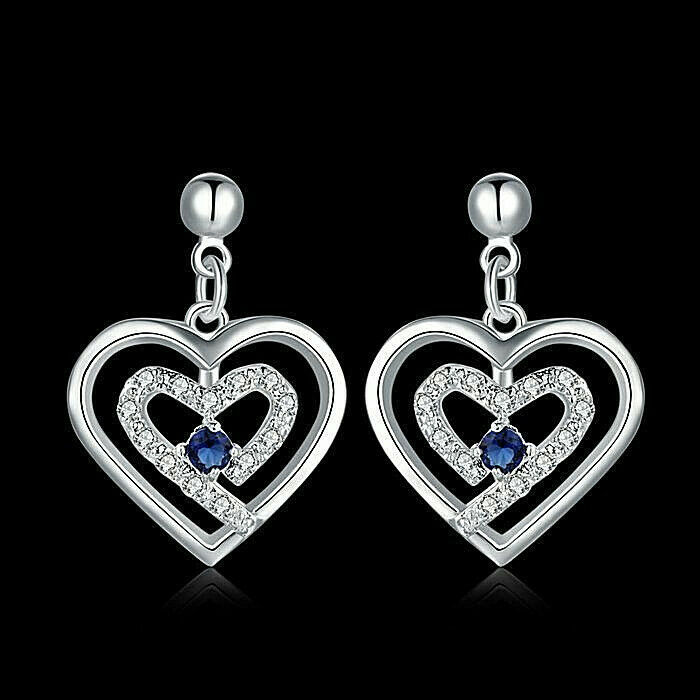 Primary image for Crystal Heart Drop Earrings 925 Sterling Silver NEW