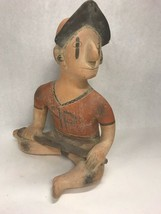 Southwestern hand made Pottery Clay  Mexico 14 in tall BASEBALL player i... - $25.24