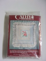 "Candlewicking Pillow Rose Mallow 12""X12"" Kit Jean Fox Vtg Cathy Needlecr... - $21.97"