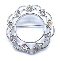 Vintage 1972 Sarah Coventry Silver Tone Sparkle Circle Brooch Pin Rhines... - $9.75