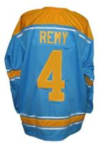 Custom Name # Pittsburgh Hornets Retro Hockey Jersey New Blue Remy #4 Any Size image 2