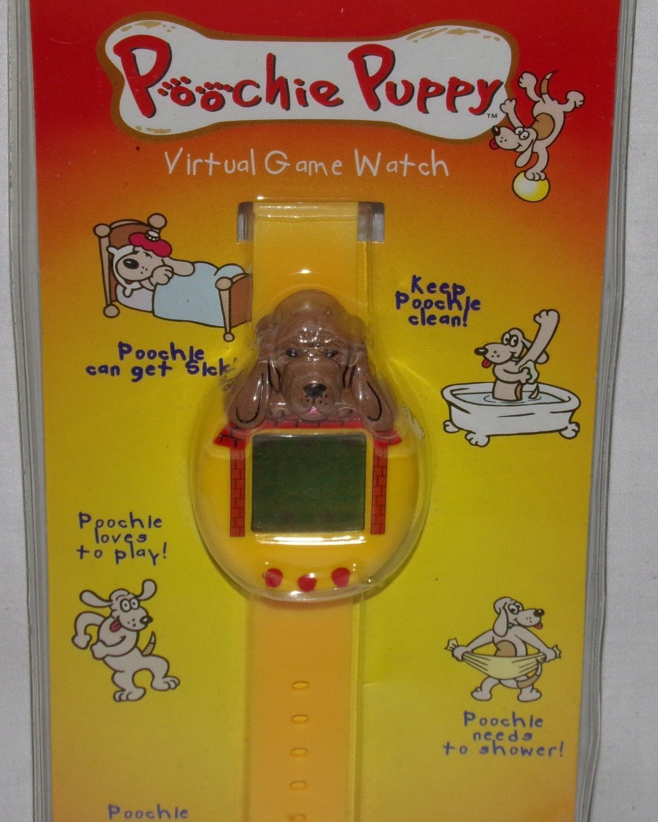 Poochie puppy Virtual Game Watch Vtg New NIP Nelsonic Pup Brown Dog Yellow