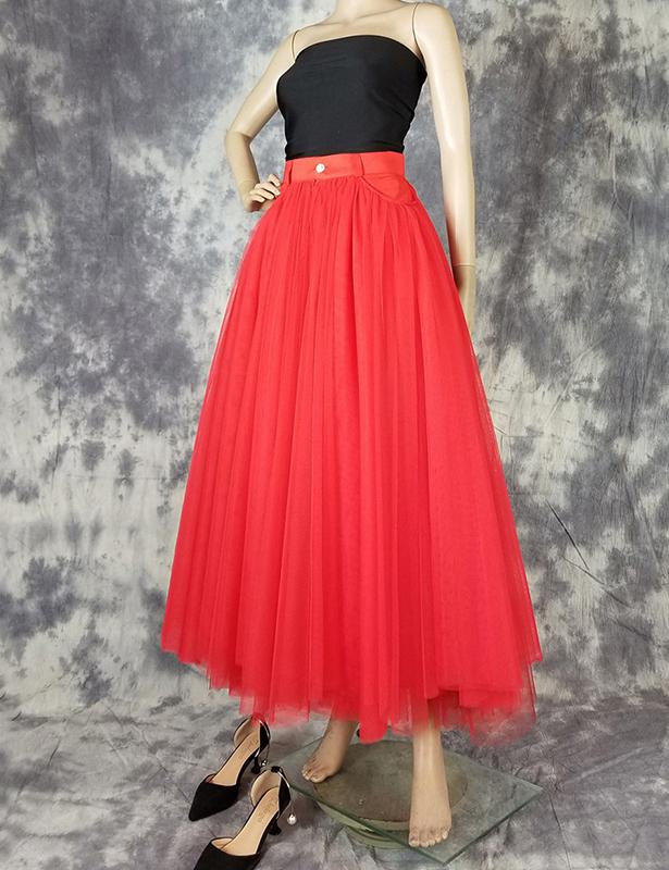 Long tulle skirt red 3