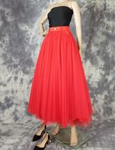 Women Red Long Tulle Skirt High Waist Tulle Skirt with Pockets Tulle Party Skirt image 2