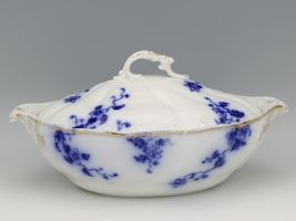 Flow Blue Duchess Oval Covered Vegetable Dish c1900 Grindley England image 3
