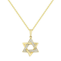 Round Cut Diamond Star of David Pendant W/ Chain Yellow Gold Plated 925 ... - $24.99