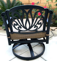 Patio set of 2 cast aluminum 1 swivel club chair and  Elisabeth end table. image 5
