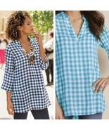 Soft Surroundings Al Fresco Tunic Top Gingham Plaid Blue White Pockets S... - $34.45