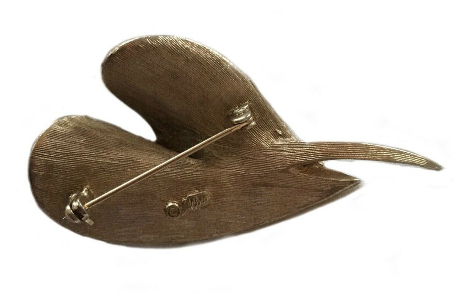 Vintage Gold Toned Costume Jewelry Brooch Designer Signed Coro Leaf Design