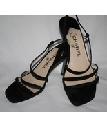 CHANEL CC Logo Heel Black Suede Crystal Sandal Shoe 37-1/2  7.5 - $329.00