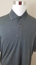 IZOD Mens L Large Polo Gray Striped 2 button N117 - $16.70