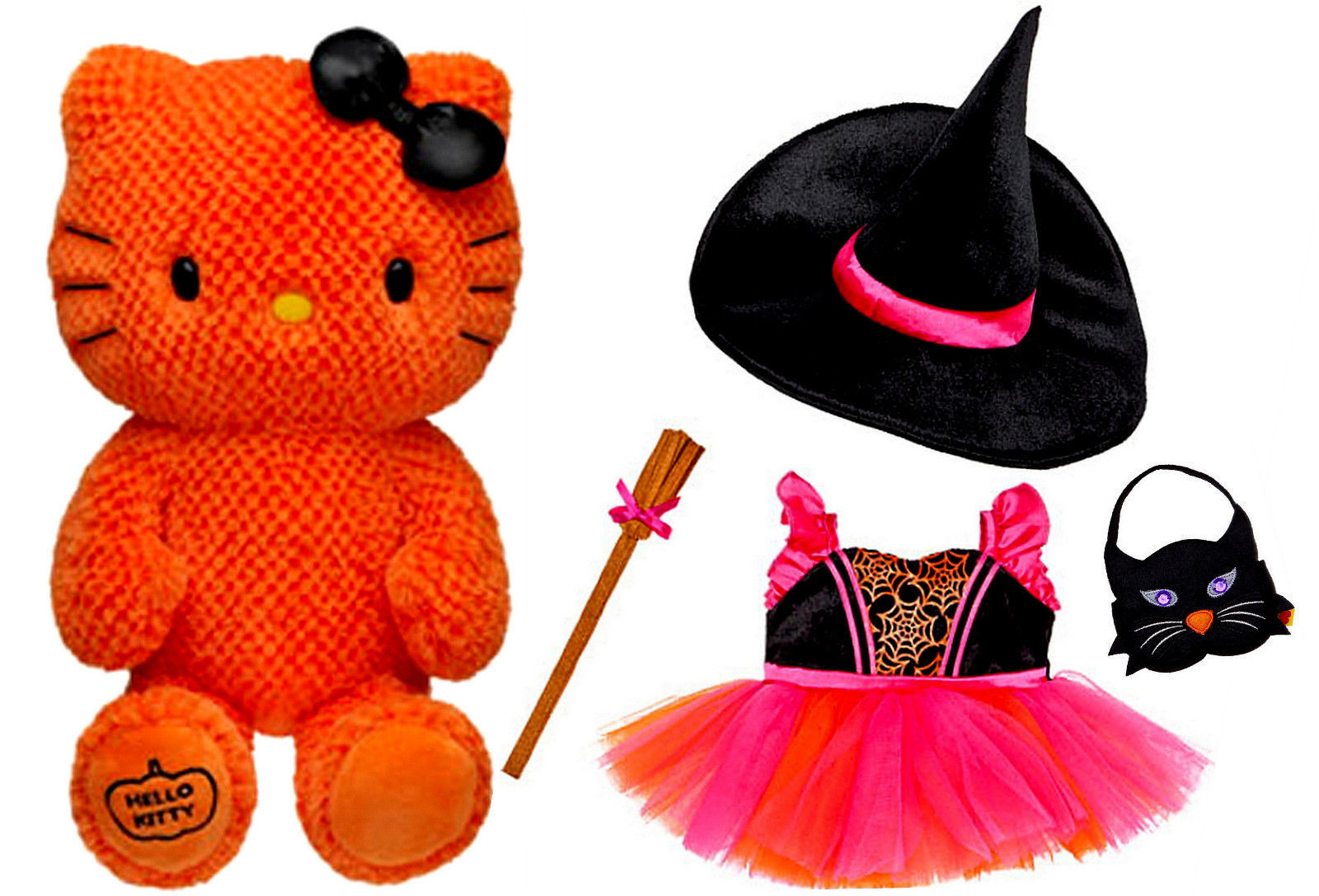 Build a Bear Orange Hello Kitty Halloween Witch 4pc. Costume Outfit 18in. Plush