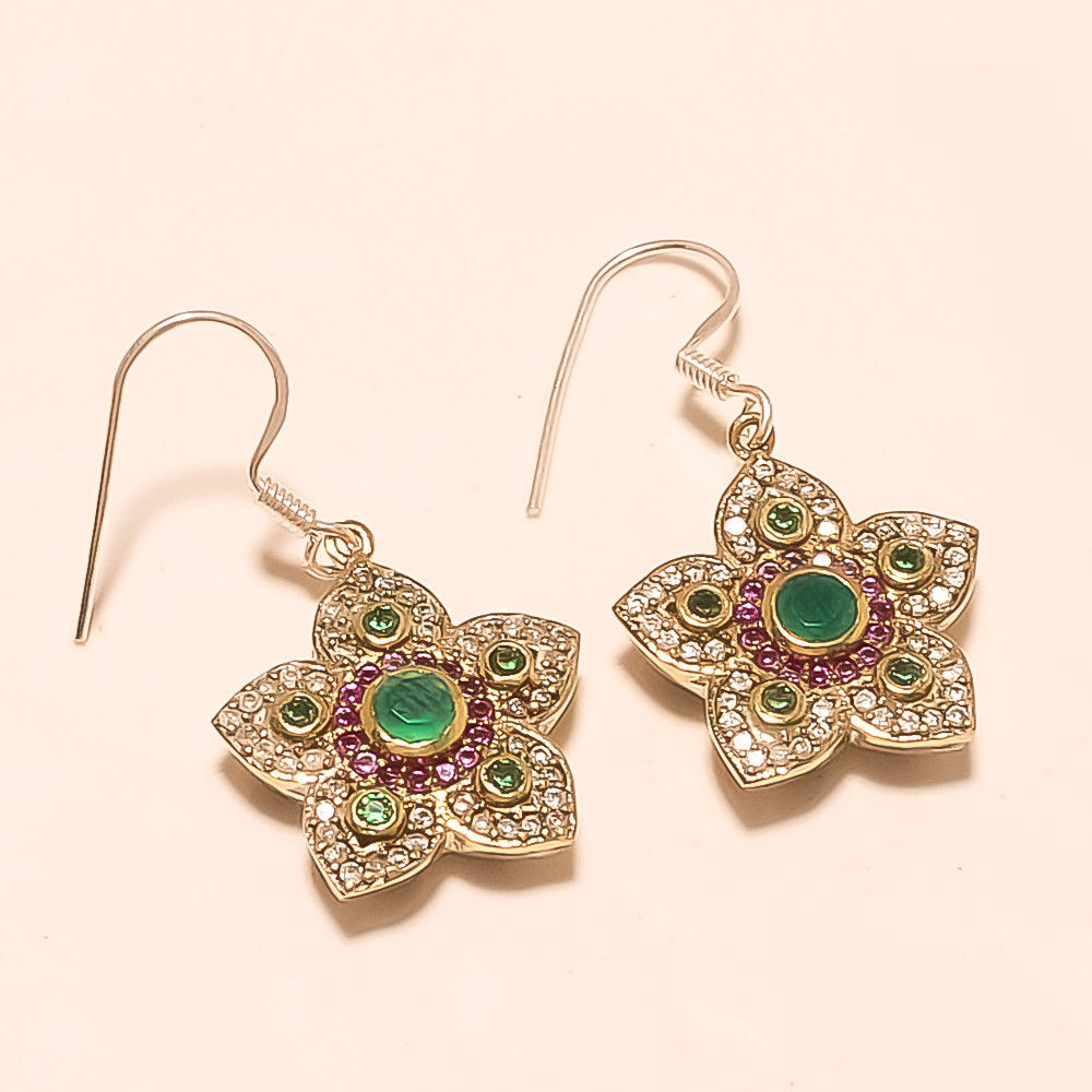 adf88910d S l1600. S l1600. Natural Zambian Emerald Earrings Sterling Silver Jewelry  Turkish Christmas Gifts