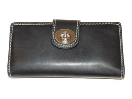 Coach Black Leather Checkbook Wallet clutch ID credit cards pre-owned - $126.96