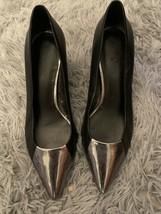 Nine West Ladies Size 7.5 Medium Black with Silver Toe Heels - $22.44