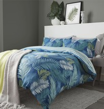 PALM LEAVES STRIPE TEAL COTTON BLEND REVERSIBLE KING SIZE 4 PIECE BEDDIN... - $64.19