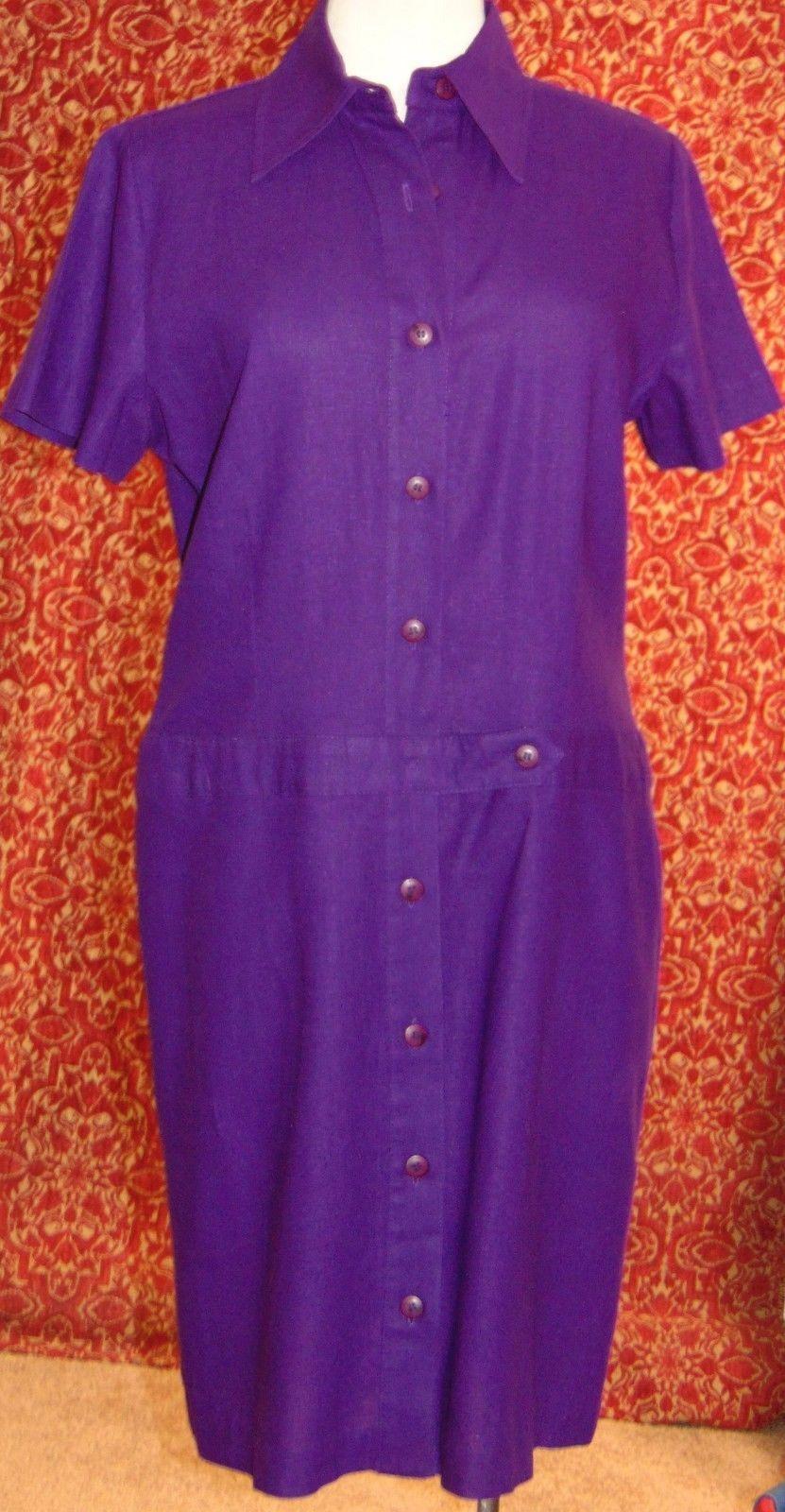 R & K ORIGINALS VINTAGE 80's purple button shirt dress M L (T11-0DH6G), used for sale  USA
