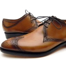 Brown Wing Tip Blucher Sterling Lace Up Brogue Leather Handmade Fashiona... - $139.99+