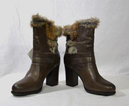 NIB Frye Penny Luxe Moto Leather & Real Fur Boots Women's Size 10 M in Dark Grey - $6.185,67 MXN