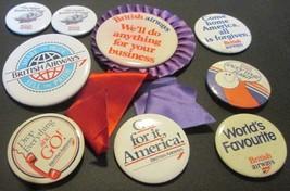 Vintage BRITISH AIRWAYS lot of 9 Button Pin Pins - $31.99