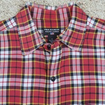 Ralph Lauren Polo Jeans Co Mens M Long Sleeve Plaid Shirt Red Black -G - $16.75