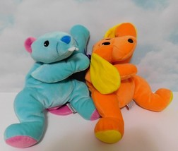 "TY Pillows Pals LOT of 2 Chewy Beaver Teal 16""  Woof Puppy Orange 14"" Pl... - $20.53"