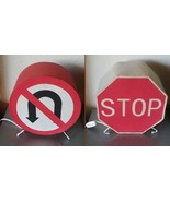 Pair of STOP SIGN and NO U TURN Table Lamps Kids Bedroom Theme Westinghouse - $25.00