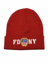 FDNY Winter Hat Police Badge Fire Department NYC Red & White One Size New York - $10.50