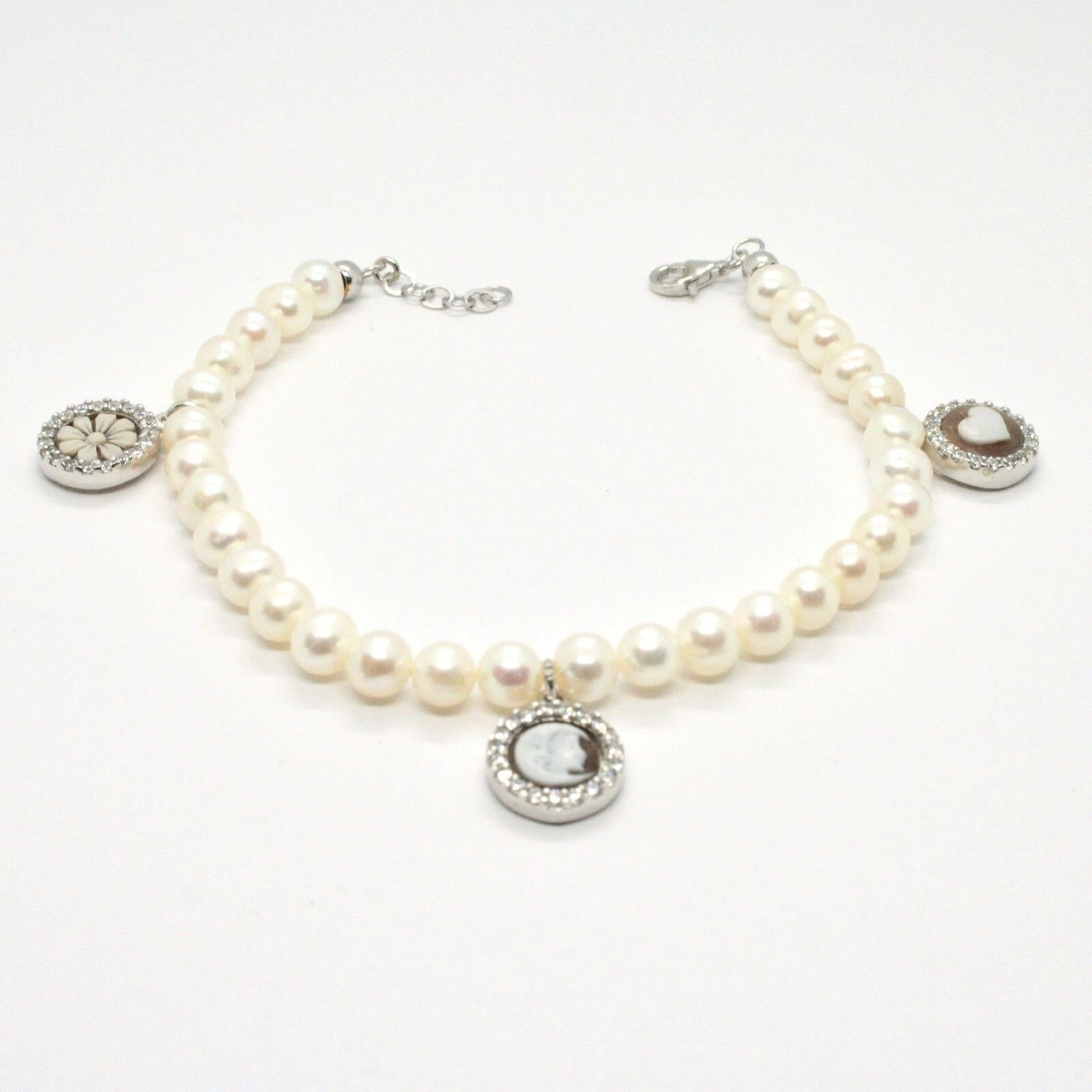 BRACELET 925 SILVER WITH PEARLS OF WATER DOLCE CAMEO CAMEO ZIRCON CUBIC