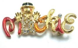 Vtg Bob Mackie Signature Brooch Pin Multicolor Rhinestone & Gold Tone En... - $64.95