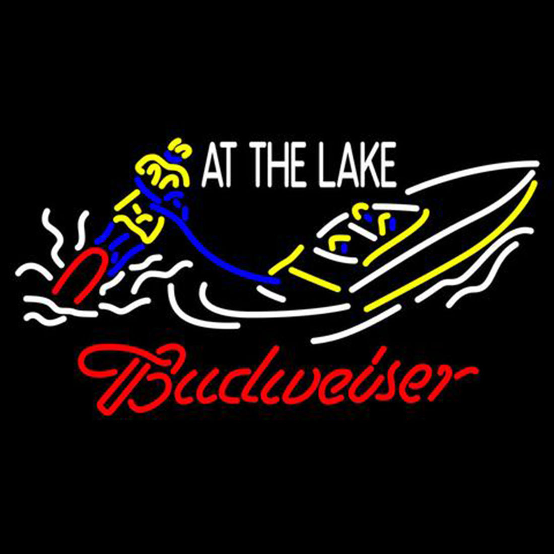 "New Budweiser At The Lake Speedboat Beer Bar Neon Sign 24""x20"""