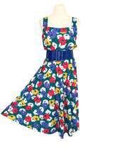80s does 50s Teal Green White Red & Purple Floral Casual Summer Day Dres... - $41.00