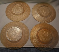 Vintage Orange Peach Depression Glass Salad Plates Set of 4 - $42.06