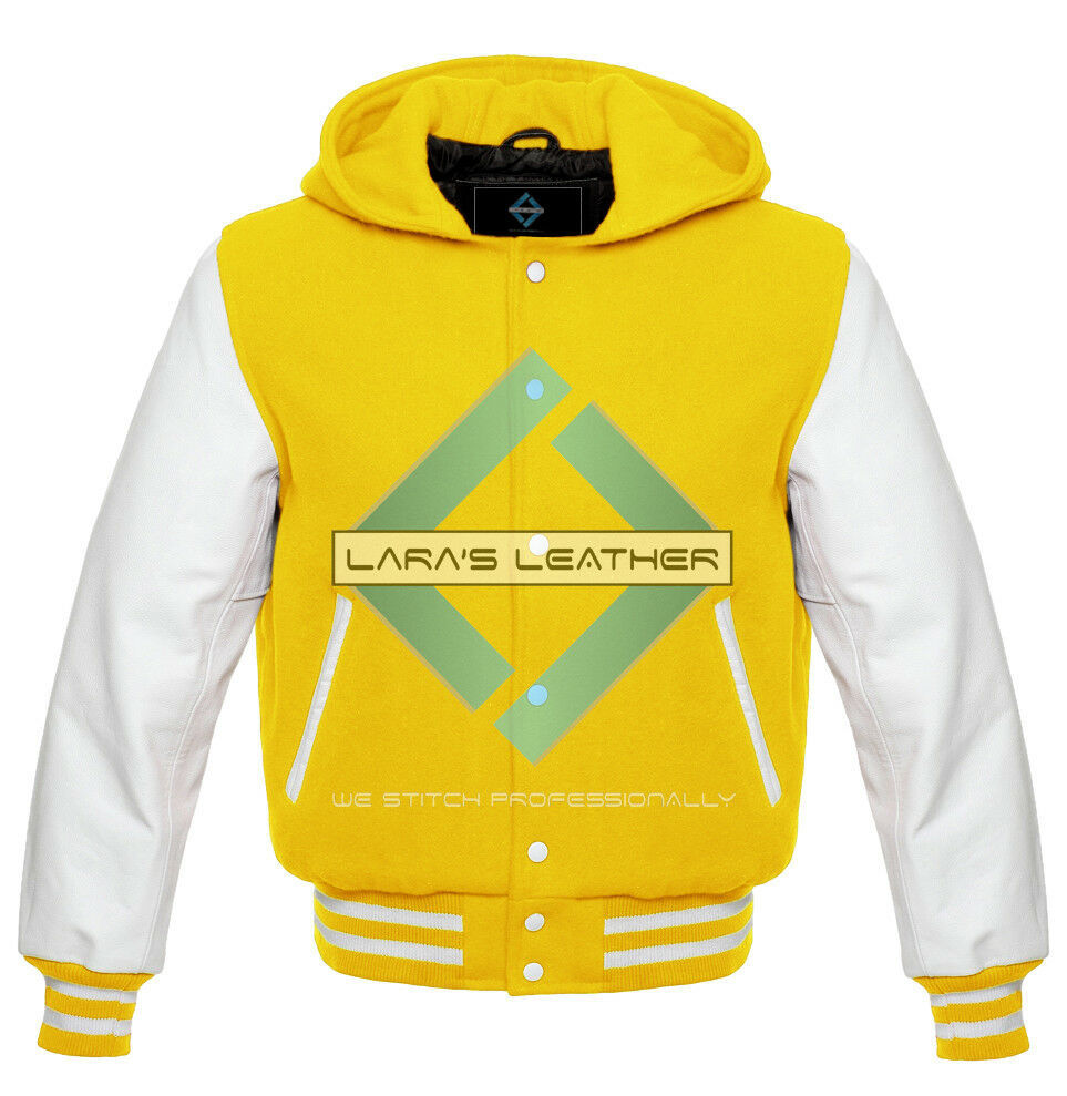 Primary image for Letterman College Varsity Jacket with Hood & White Real Leather Sleeves XS-7XL