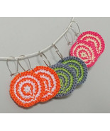 Multi-color Crochet Swirl Earrings / Handmade earrings / Round Shape Ear... - $10.00