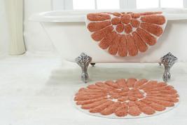 2-Piece Bath Rug Set Chesapeake Merchandising Bursting Flower, White/Coral - $37.99