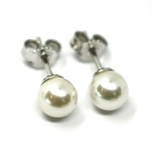 SOLID 18K WHITE GOLD STUDS EARRINGS, SALTWATER AKOYA PEARLS, DIAMETER 6/... - $189.00