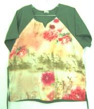 Sz XL - Cherokee Studio Green Oriental Floral Print Top - $14.24